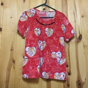 Disney's Bambi Scrub Top Medium EUC